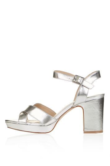 Mae Mid Platform Sandals - predominant colour: silver; occasions: evening, occasion; material: suede; heel height: mid; ankle detail: ankle strap; heel: block; toe: open toe/peeptoe; style: strappy; finish: metallic; pattern: plain; shoe detail: platform; season: s/s 2016; wardrobe: event; trends: metallics