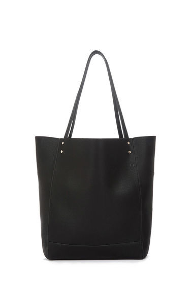 Stud Panelled Shopper Bag - predominant colour: black; occasions: casual, creative work; type of pattern: standard; style: shoulder; length: shoulder (tucks under arm); size: standard; material: faux leather; pattern: plain; finish: plain; season: s/s 2016; wardrobe: investment