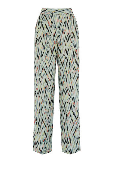 Zig Zag Print Trousers - length: standard; style: palazzo; waist: high rise; predominant colour: ivory/cream; secondary colour: pale blue; occasions: casual, creative work; fibres: polyester/polyamide - 100%; waist detail: narrow waistband; fit: wide leg; pattern type: fabric; pattern: patterned/print; texture group: woven light midweight; multicoloured: multicoloured; season: s/s 2016