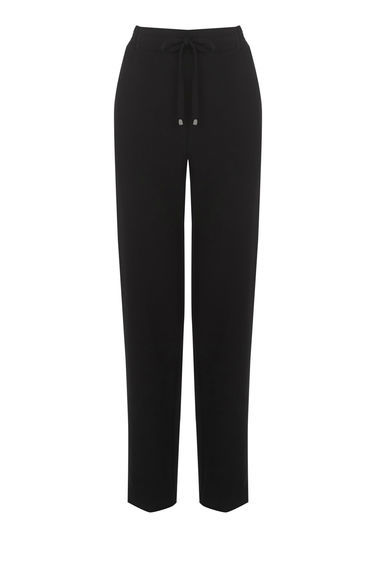 Crepe Joggers - length: standard; pattern: plain; style: tracksuit pants; waist: mid/regular rise; predominant colour: black; occasions: casual; fibres: polyester/polyamide - stretch; texture group: crepes; fit: slim leg; pattern type: fabric; season: s/s 2016; wardrobe: basic