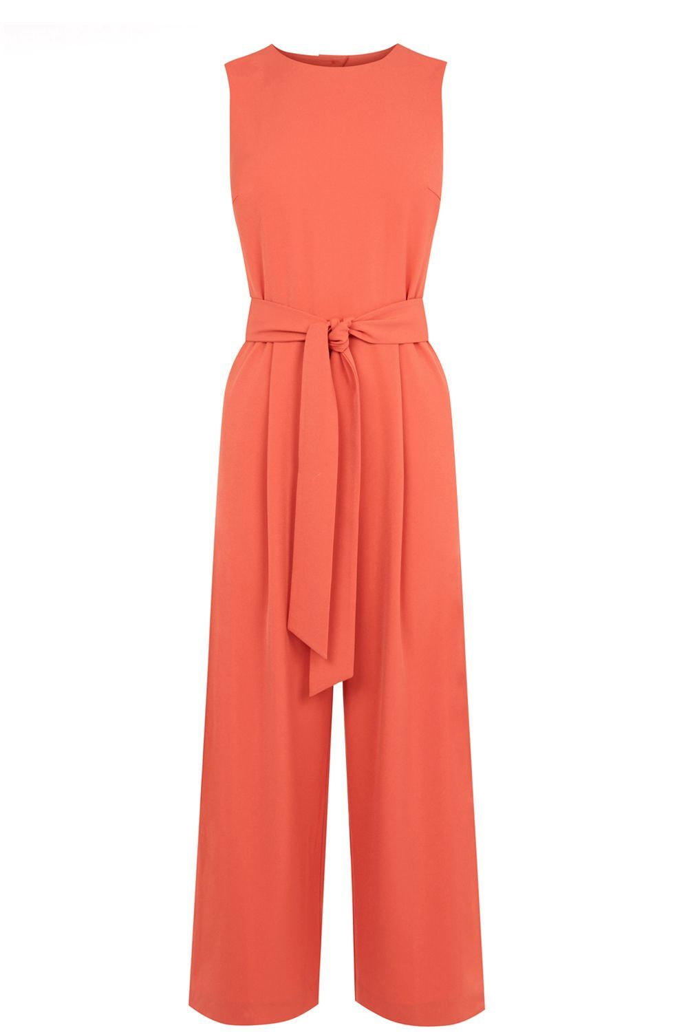 Open Back Jumpsuit, Coral - length: standard; neckline: round neck; fit: tailored/fitted; pattern: plain; sleeve style: sleeveless; waist detail: belted waist/tie at waist/drawstring; predominant colour: coral; occasions: evening, occasion; fibres: polyester/polyamide - stretch; sleeve length: sleeveless; style: jumpsuit; pattern type: fabric; texture group: jersey - stretchy/drapey; season: s/s 2016; wardrobe: event