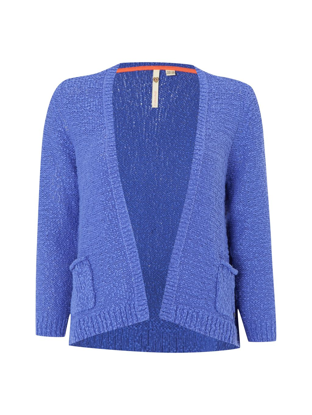 Magic Cardi, Blue - pattern: plain; neckline: collarless open; style: open front; predominant colour: denim; occasions: casual, creative work; length: standard; fibres: cotton - 100%; fit: loose; sleeve length: 3/4 length; sleeve style: standard; texture group: knits/crochet; pattern type: knitted - fine stitch; season: s/s 2016