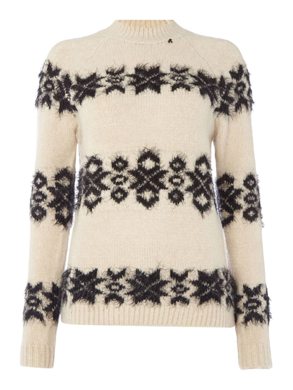 Wool Blend Jumper With Embroidery, Beige - style: standard; predominant colour: ivory/cream; secondary colour: black; occasions: casual, creative work; length: standard; fibres: wool - mix; fit: standard fit; neckline: crew; sleeve length: long sleeve; sleeve style: standard; texture group: knits/crochet; pattern type: knitted - fine stitch; pattern: patterned/print; pattern size: big & busy (top); season: s/s 2016
