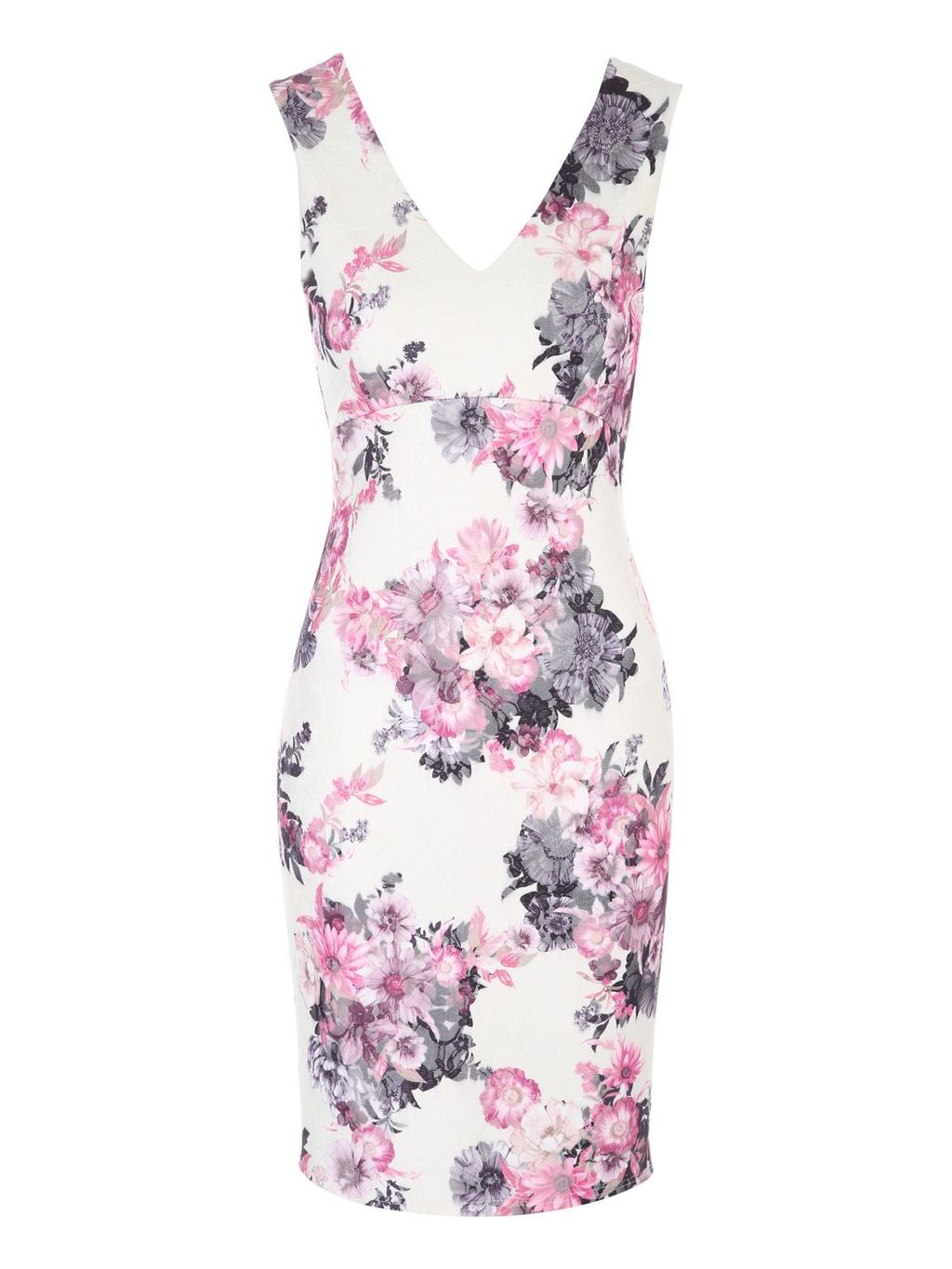 White Floral Printed Bonded Lace Dress, Multi Coloured - style: shift; neckline: low v-neck; fit: tailored/fitted; sleeve style: sleeveless; predominant colour: ivory/cream; secondary colour: lilac; occasions: evening, occasion; length: just above the knee; fibres: polyester/polyamide - 100%; sleeve length: sleeveless; pattern type: fabric; pattern: florals; texture group: woven light midweight; multicoloured: multicoloured; season: s/s 2016
