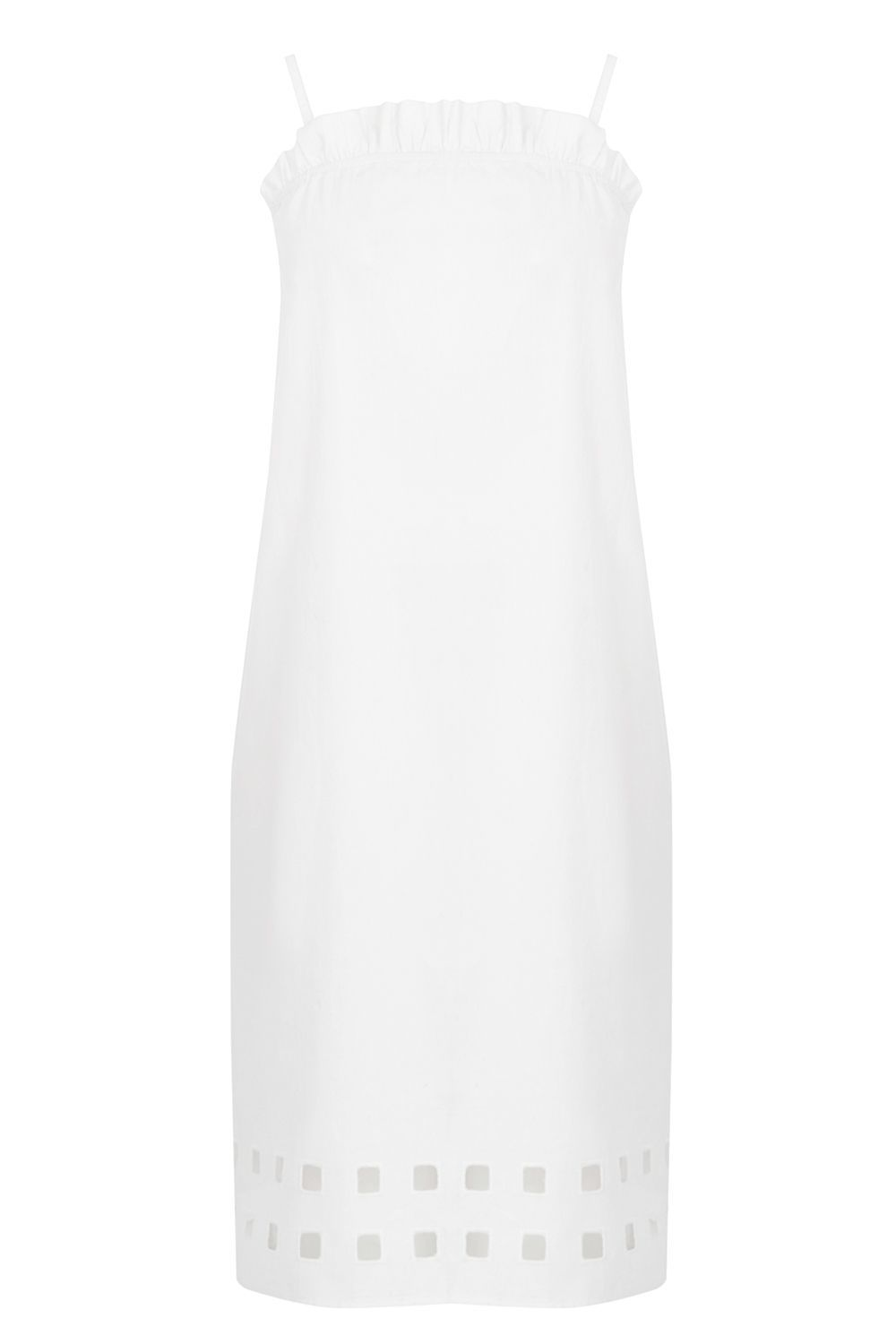 Square Cutwork Cami Dress, White - length: mid thigh; pattern: plain; sleeve style: sleeveless; predominant colour: white; occasions: casual; fit: straight cut; style: slip dress; fibres: cotton - 100%; sleeve length: sleeveless; texture group: cotton feel fabrics; neckline: medium square neck; pattern type: fabric; season: s/s 2016; wardrobe: basic