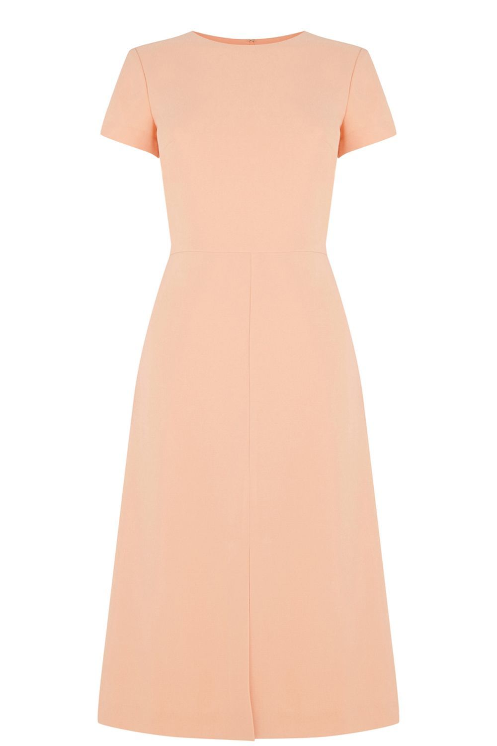 Split Front Midi Dress, Pastel Pink - style: shift; length: below the knee; sleeve style: capped; pattern: plain; predominant colour: nude; occasions: work, occasion, creative work; fit: soft a-line; fibres: polyester/polyamide - 100%; neckline: crew; sleeve length: short sleeve; texture group: crepes; pattern type: fabric; season: s/s 2016; wardrobe: investment