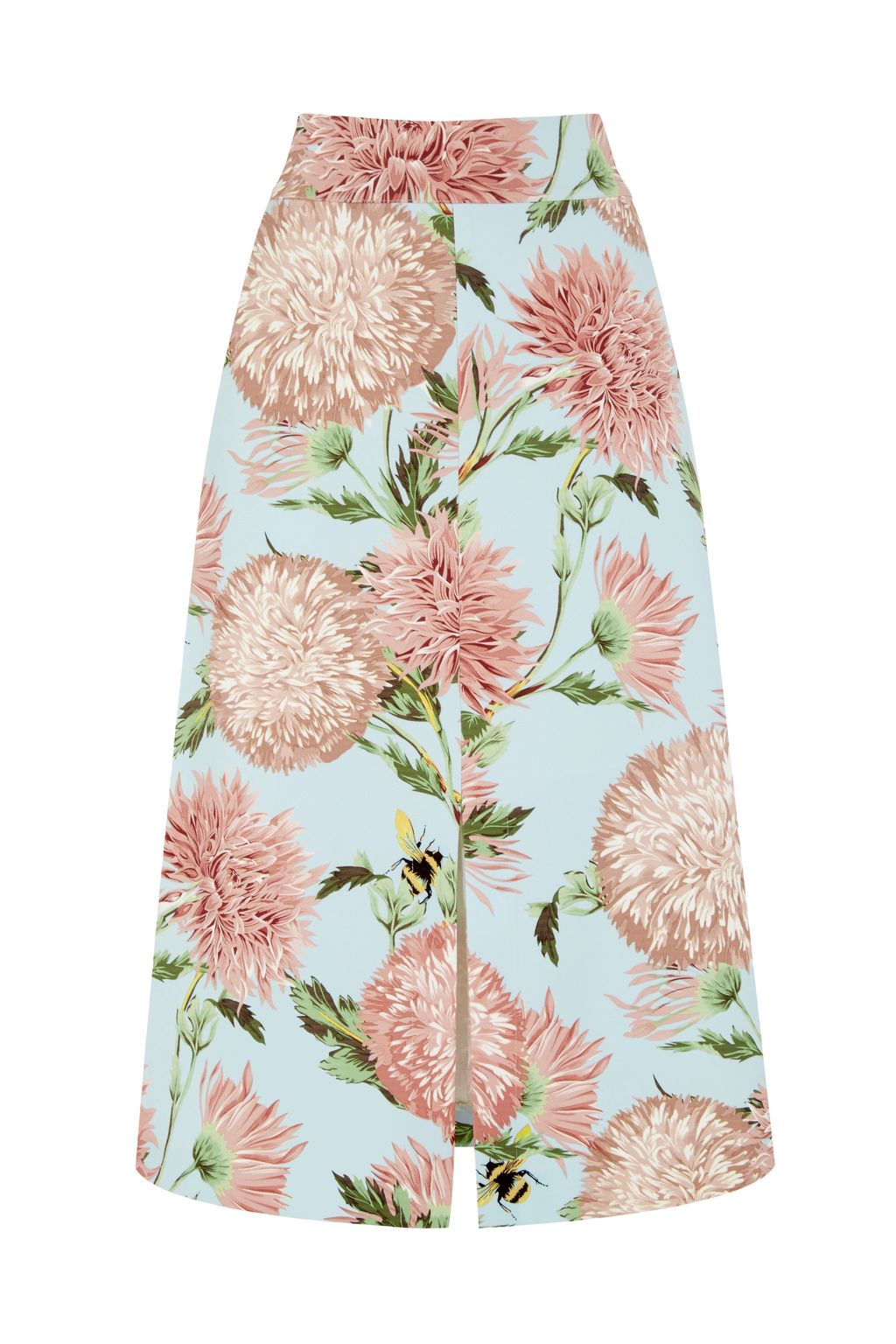 Pom Pom Print Floral Skirt, Multi Coloured - length: calf length; fit: loose/voluminous; waist: high rise; hip detail: draws attention to hips; predominant colour: pale blue; occasions: casual, creative work; style: a-line; fibres: polyester/polyamide - 100%; texture group: crepes; pattern type: fabric; pattern: florals; secondary colour: dusky pink; multicoloured: multicoloured; season: s/s 2016; wardrobe: highlight