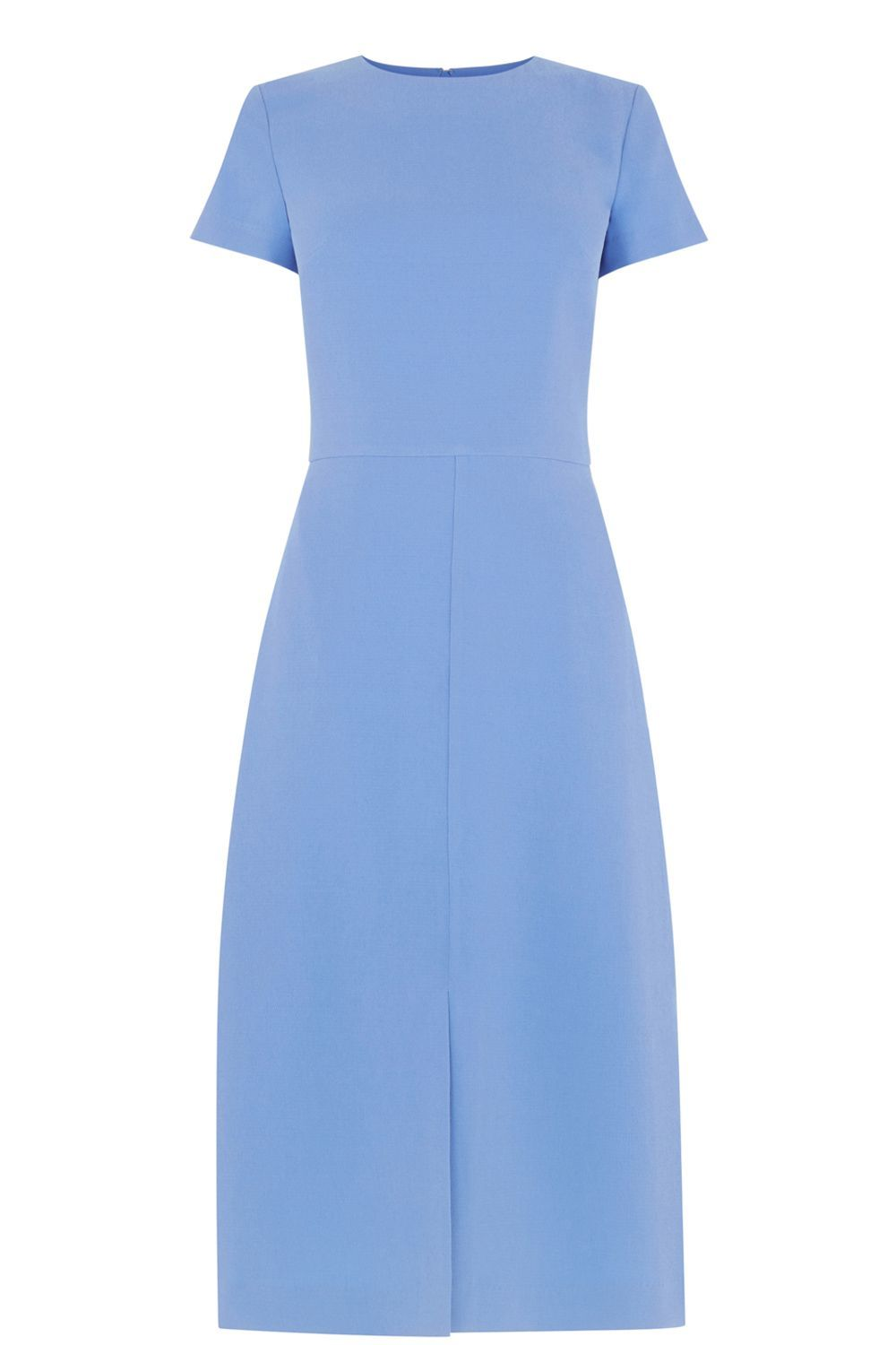 Split Front Midi Dress, Blue - style: shift; length: below the knee; fit: tailored/fitted; pattern: plain; predominant colour: pale blue; occasions: evening; fibres: polyester/polyamide - 100%; neckline: crew; sleeve length: short sleeve; sleeve style: standard; texture group: crepes; pattern type: fabric; season: s/s 2016; wardrobe: event