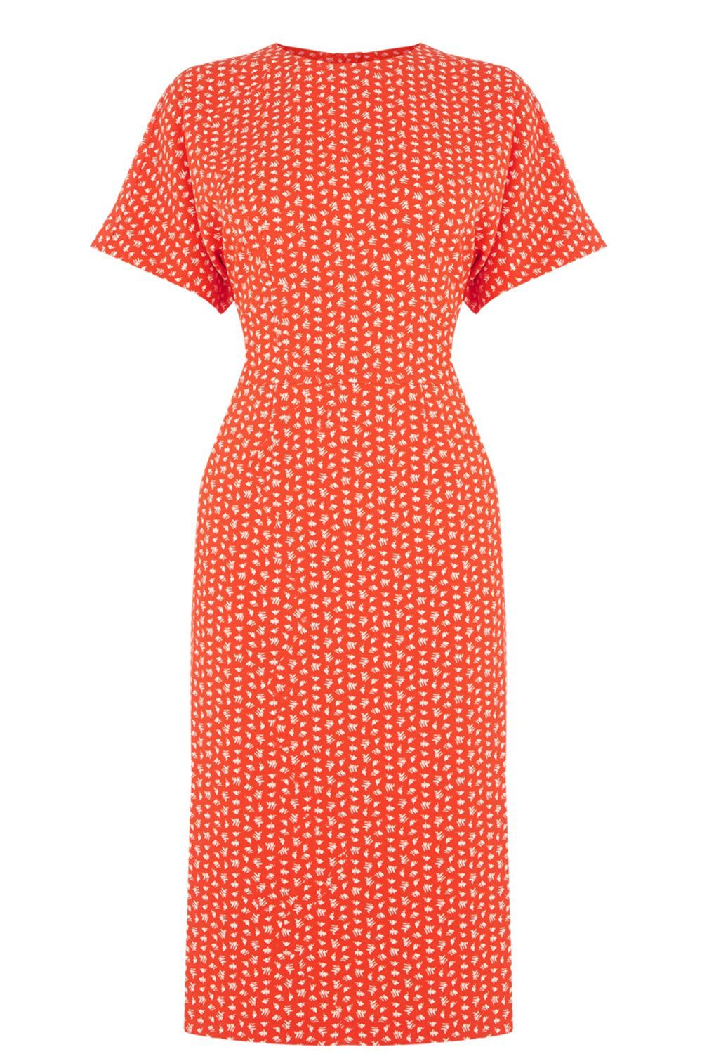 Squiggle Print Midi Dress, Red - style: shift; length: calf length; pattern: polka dot; secondary colour: yellow; predominant colour: bright orange; occasions: evening; fit: body skimming; fibres: polyester/polyamide - stretch; neckline: crew; sleeve length: short sleeve; sleeve style: standard; texture group: crepes; pattern type: fabric; multicoloured: multicoloured; season: s/s 2016; wardrobe: event
