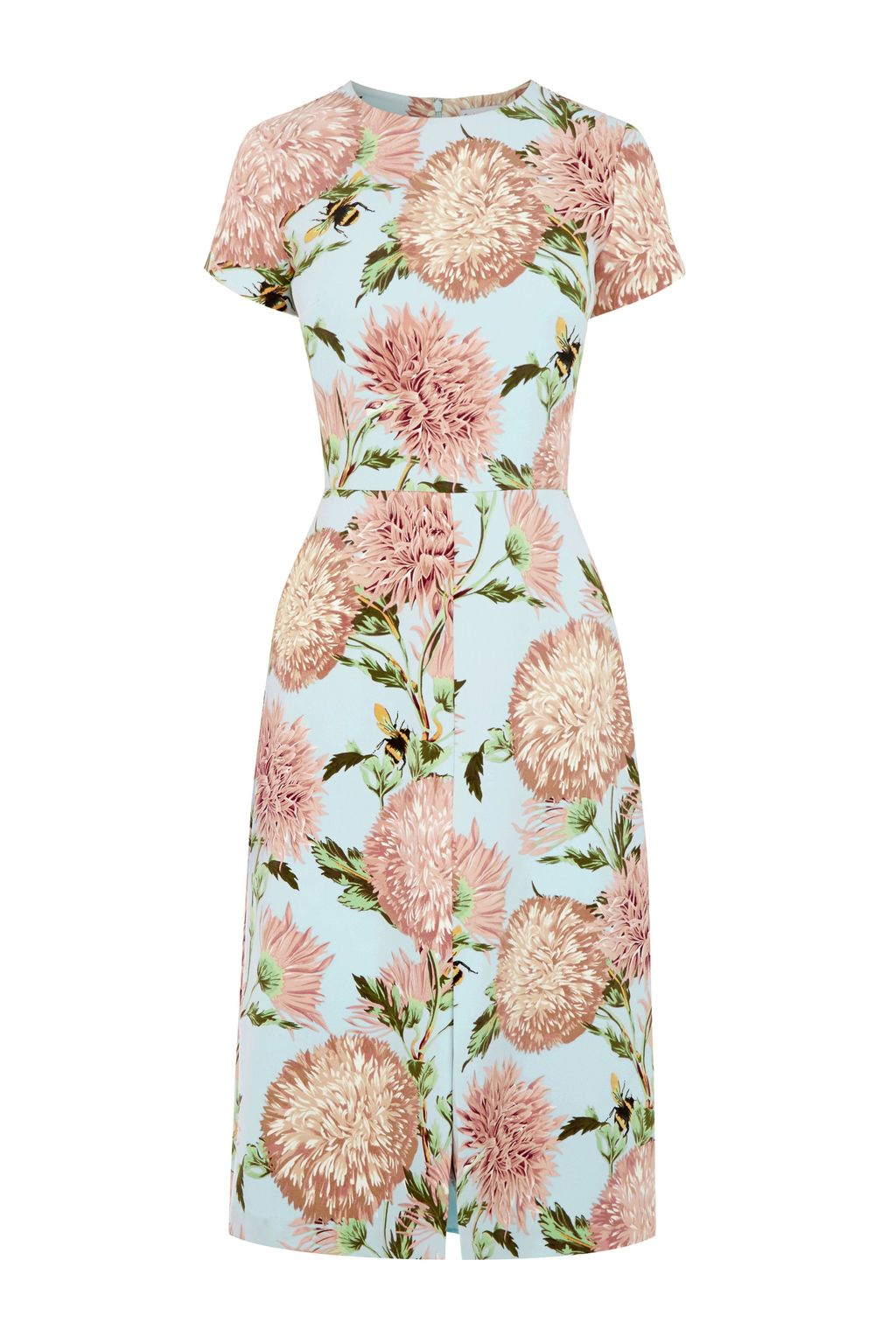Pom Pom Floral Print Dress, Multi Coloured - style: tea dress; neckline: round neck; fit: tailored/fitted; hip detail: draws attention to hips; predominant colour: blush; secondary colour: pale blue; length: on the knee; fibres: polyester/polyamide - stretch; sleeve length: short sleeve; sleeve style: standard; pattern type: fabric; pattern size: big & busy; pattern: florals; texture group: jersey - stretchy/drapey; occasions: creative work; season: s/s 2016; wardrobe: highlight