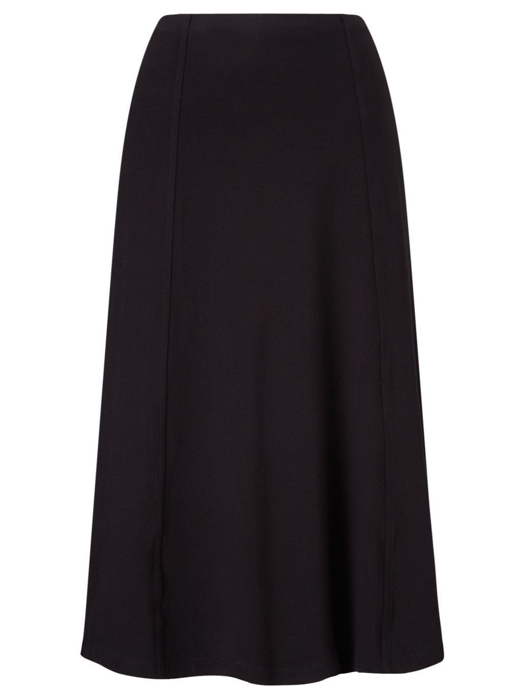 Panel Detail Jersey Skirt, Black - length: below the knee; pattern: plain; fit: loose/voluminous; waist: high rise; predominant colour: black; occasions: work; style: a-line; fibres: polyester/polyamide - stretch; hip detail: subtle/flattering hip detail; pattern type: fabric; texture group: jersey - stretchy/drapey; season: s/s 2016; wardrobe: basic