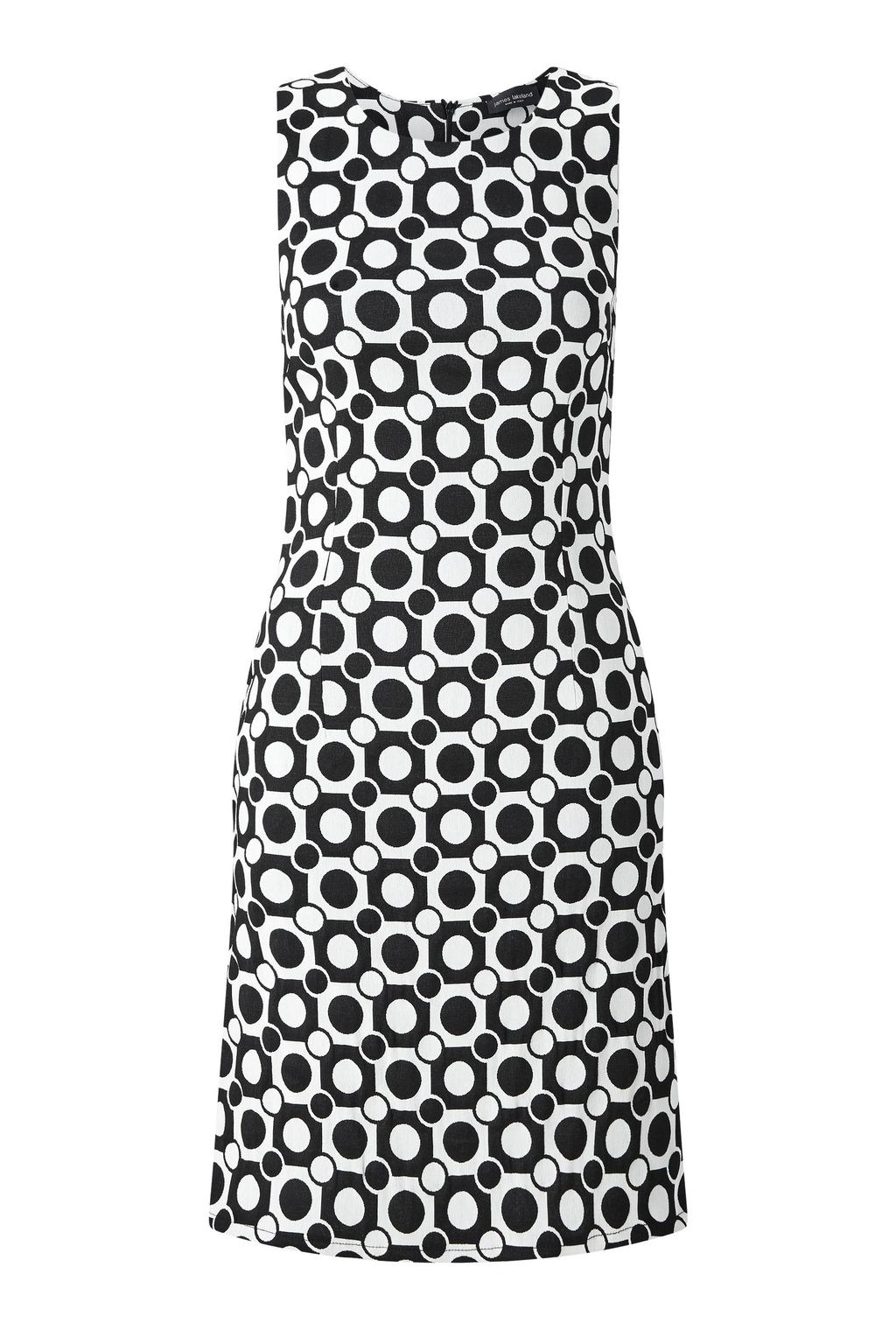 Diamond Jacquard Dress, White - style: shift; neckline: round neck; fit: tailored/fitted; sleeve style: sleeveless; predominant colour: white; secondary colour: navy; occasions: evening, creative work; length: just above the knee; fibres: polyester/polyamide - stretch; sleeve length: sleeveless; texture group: crepes; pattern type: fabric; pattern size: big & busy; pattern: patterned/print; season: s/s 2016; wardrobe: highlight