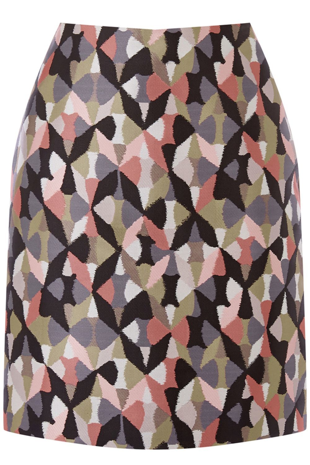Diamond Ikat Pelmet Skirt, Pink - length: mid thigh; style: straight; fit: tailored/fitted; waist: high rise; secondary colour: black; fibres: polyester/polyamide - 100%; pattern type: fabric; pattern: patterned/print; texture group: brocade/jacquard; predominant colour: dusky pink; occasions: creative work; pattern size: standard (bottom); multicoloured: multicoloured; season: s/s 2016