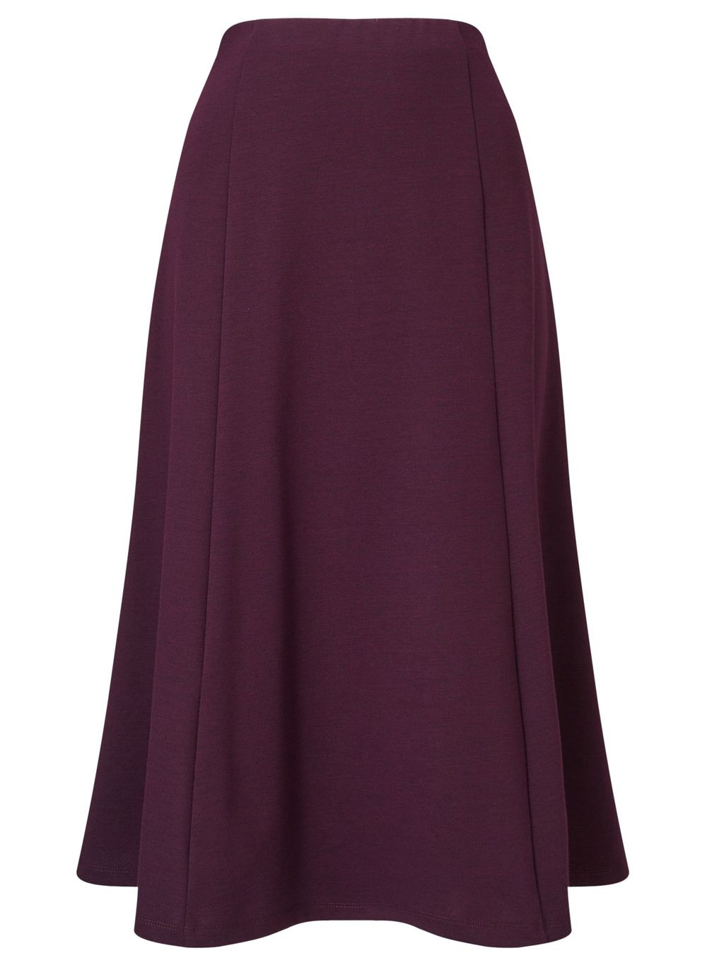 Aubergine Ponte Skirt Shorter, Purple - length: calf length; pattern: plain; fit: loose/voluminous; waist detail: fitted waist; waist: high rise; predominant colour: aubergine; style: a-line; fibres: polyester/polyamide - 100%; occasions: occasion; pattern type: fabric; texture group: other - light to midweight; season: s/s 2016; wardrobe: event