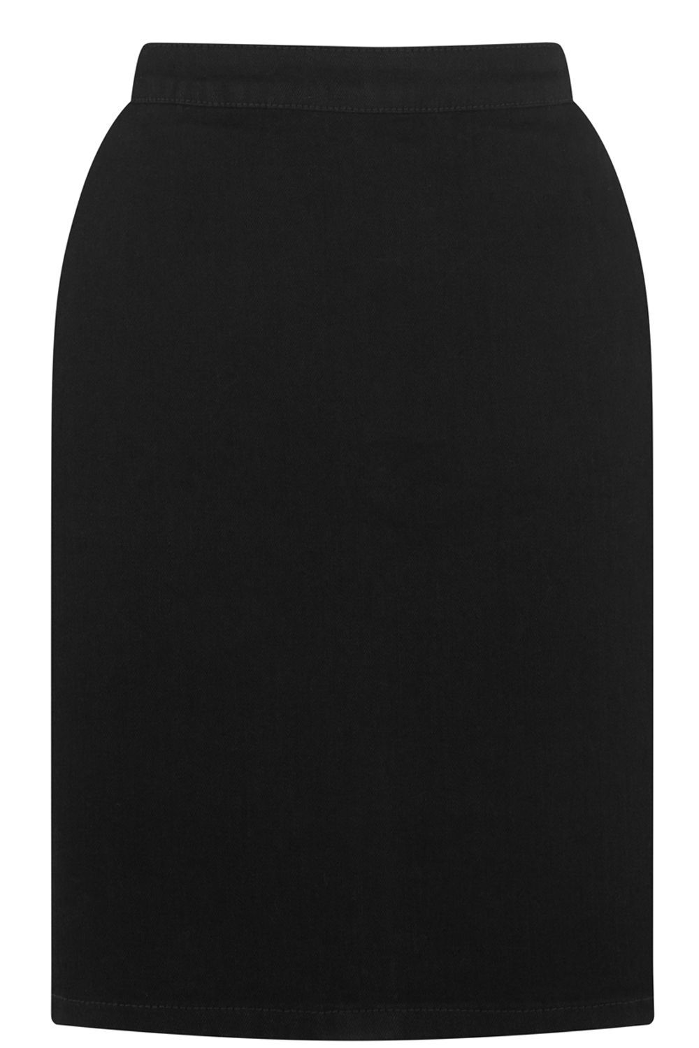 Clean Denim Pelmet Skirt, Black - pattern: plain; style: pencil; fit: tailored/fitted; waist: high rise; hip detail: draws attention to hips; predominant colour: black; occasions: casual, creative work; length: just above the knee; fibres: cotton - 100%; waist detail: feature waist detail; texture group: denim; pattern type: fabric; season: s/s 2016; wardrobe: basic