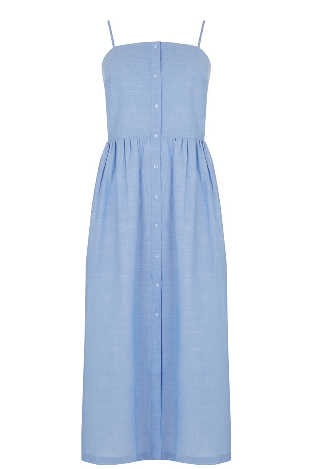Cotton Cami Midi Dress, Light Blue - length: calf length; sleeve style: spaghetti straps; pattern: plain; style: sundress; predominant colour: pale blue; occasions: casual, holiday; fit: fitted at waist & bust; fibres: cotton - 100%; sleeve length: sleeveless; texture group: cotton feel fabrics; neckline: low square neck; pattern type: fabric; season: s/s 2016; wardrobe: highlight