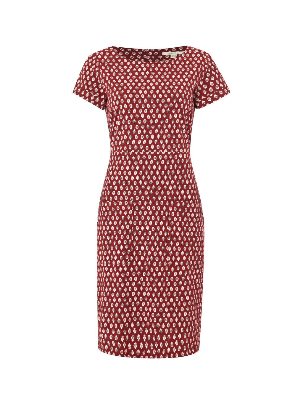 Suzanna Jersey Dress, Red - style: shift; neckline: round neck; fit: tailored/fitted; secondary colour: white; predominant colour: burgundy; occasions: casual; length: on the knee; fibres: cotton - 100%; sleeve length: short sleeve; sleeve style: standard; texture group: cotton feel fabrics; pattern type: fabric; pattern: patterned/print; season: s/s 2016; wardrobe: highlight