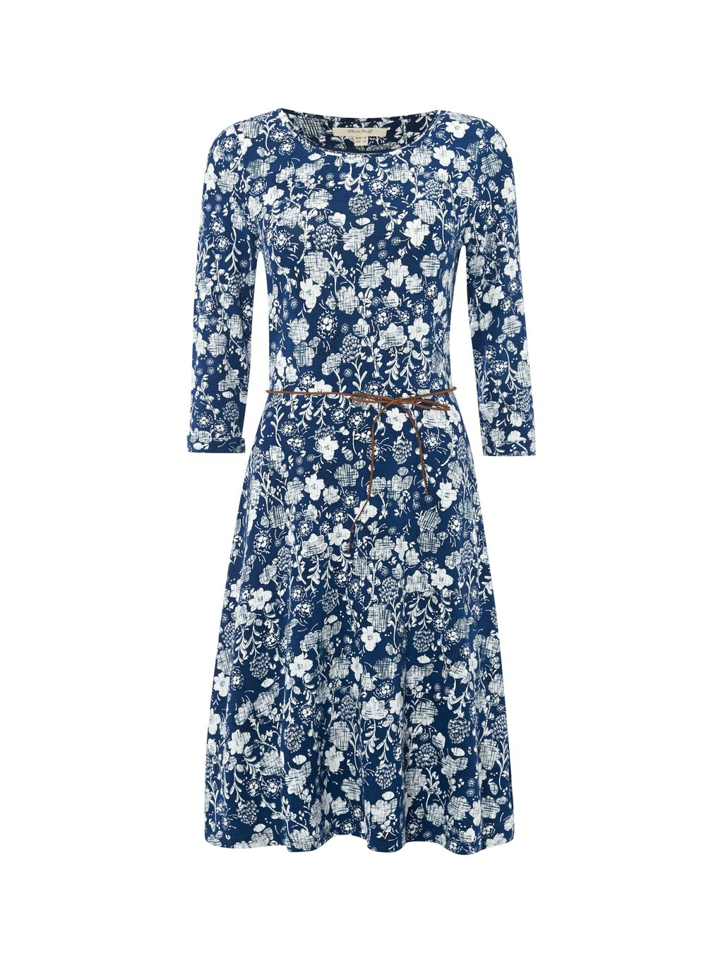 Fauna Jersey Dress, Blue - secondary colour: white; predominant colour: navy; occasions: casual; length: just above the knee; fit: fitted at waist & bust; style: fit & flare; fibres: cotton - stretch; neckline: crew; sleeve length: 3/4 length; sleeve style: standard; pattern type: fabric; pattern: patterned/print; texture group: jersey - stretchy/drapey; season: s/s 2016