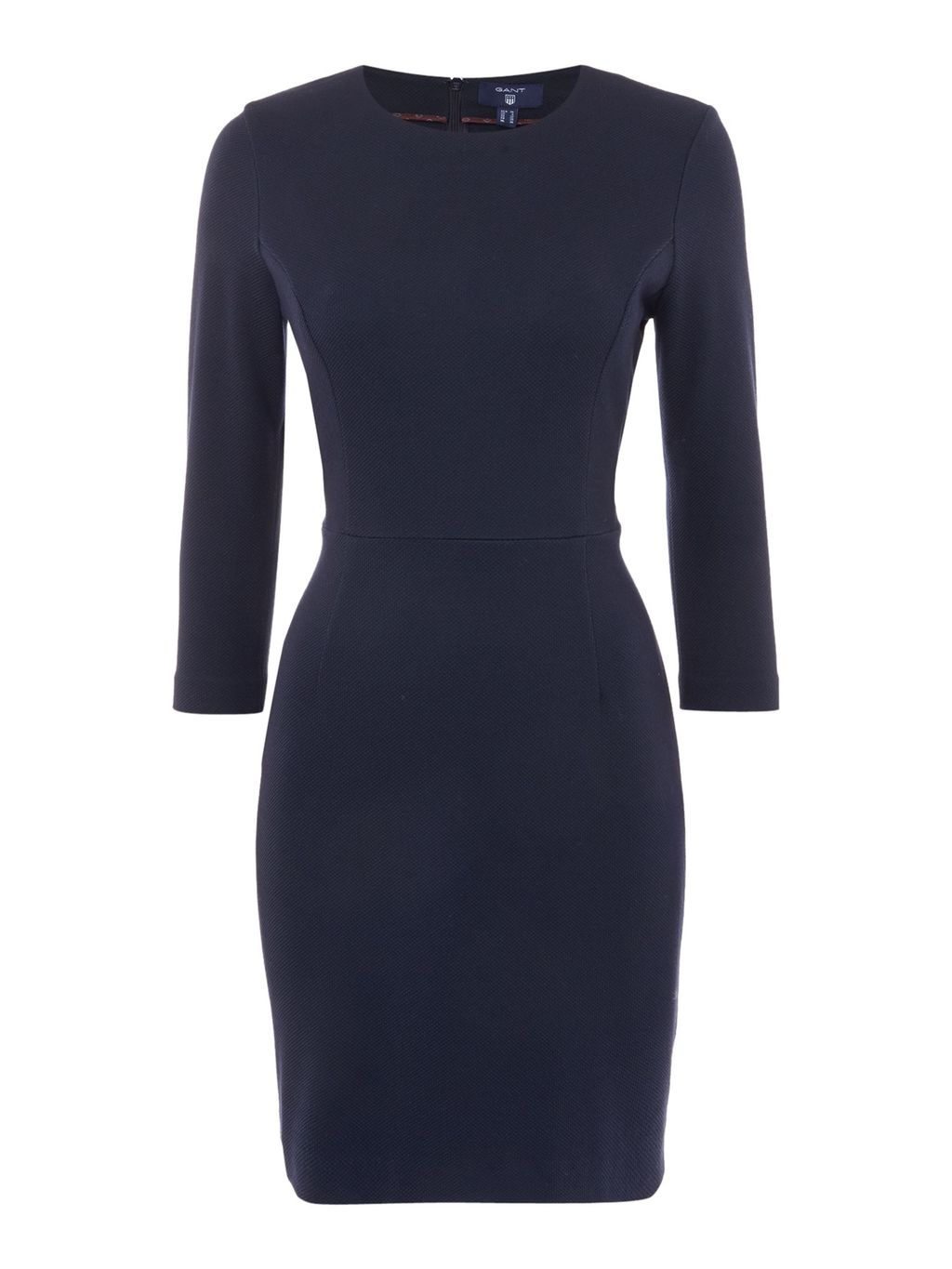 Jersey Pique Dress, Blue - style: shift; length: mini; fit: tailored/fitted; pattern: plain; hip detail: draws attention to hips; predominant colour: navy; occasions: evening; fibres: polyester/polyamide - 100%; neckline: crew; sleeve length: 3/4 length; sleeve style: standard; texture group: crepes; pattern type: fabric; season: s/s 2016; wardrobe: event