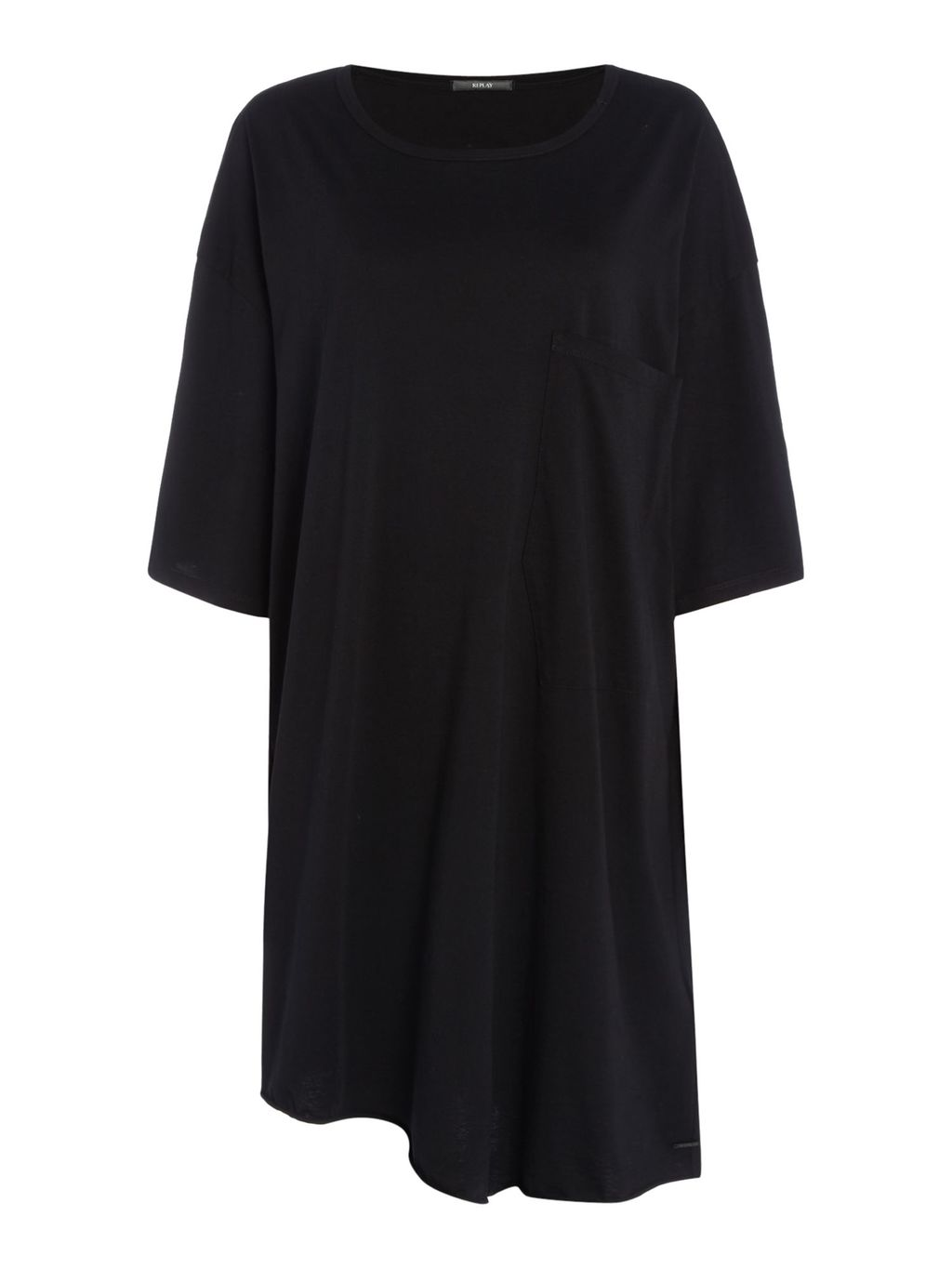 Short Jersey Dress, Black - style: t-shirt; length: mid thigh; neckline: round neck; sleeve style: dolman/batwing; fit: loose; pattern: plain; predominant colour: black; occasions: casual; fibres: cotton - stretch; sleeve length: half sleeve; pattern type: fabric; texture group: jersey - stretchy/drapey; season: s/s 2016; wardrobe: basic