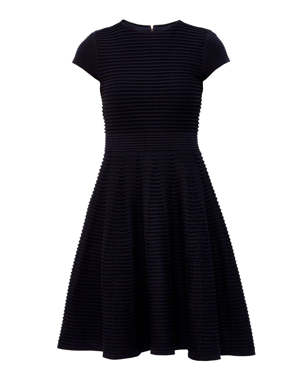 Laysee Knitted Skater Dress, Navy - style: shift; sleeve style: capped; pattern: plain; predominant colour: navy; occasions: evening; length: just above the knee; fit: soft a-line; fibres: polyester/polyamide - stretch; neckline: crew; sleeve length: short sleeve; pattern type: fabric; texture group: jersey - stretchy/drapey; season: s/s 2016; wardrobe: event