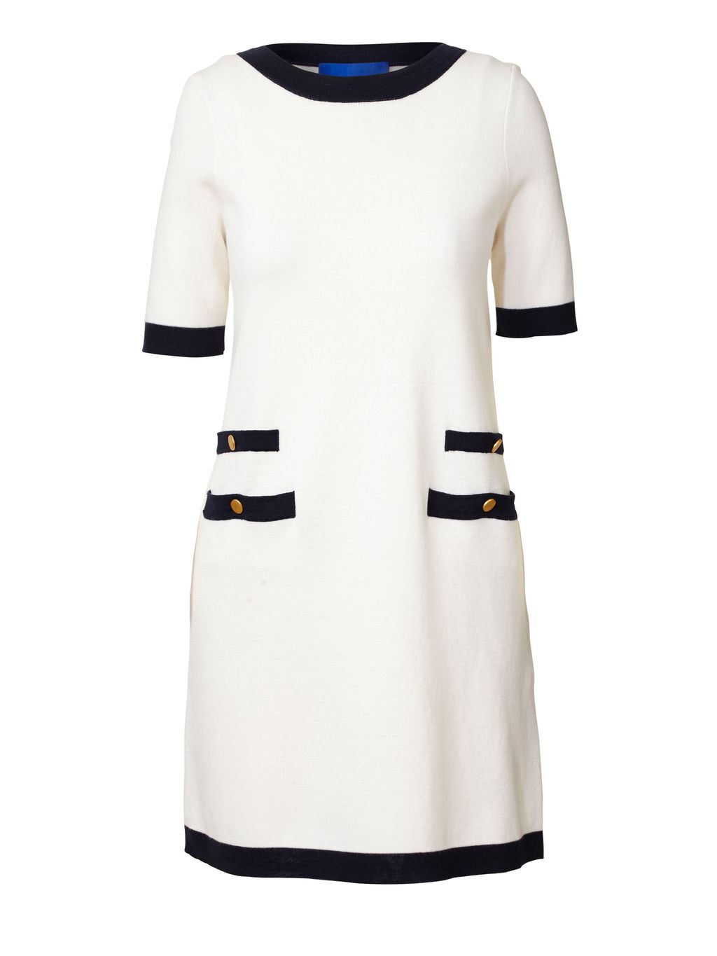 Milano Wool Parisian Dress, Cream - style: shift; pattern: plain; predominant colour: ivory/cream; secondary colour: navy; length: just above the knee; fit: soft a-line; fibres: wool - 100%; neckline: crew; sleeve length: short sleeve; sleeve style: standard; pattern type: fabric; texture group: jersey - stretchy/drapey; occasions: creative work; season: s/s 2016