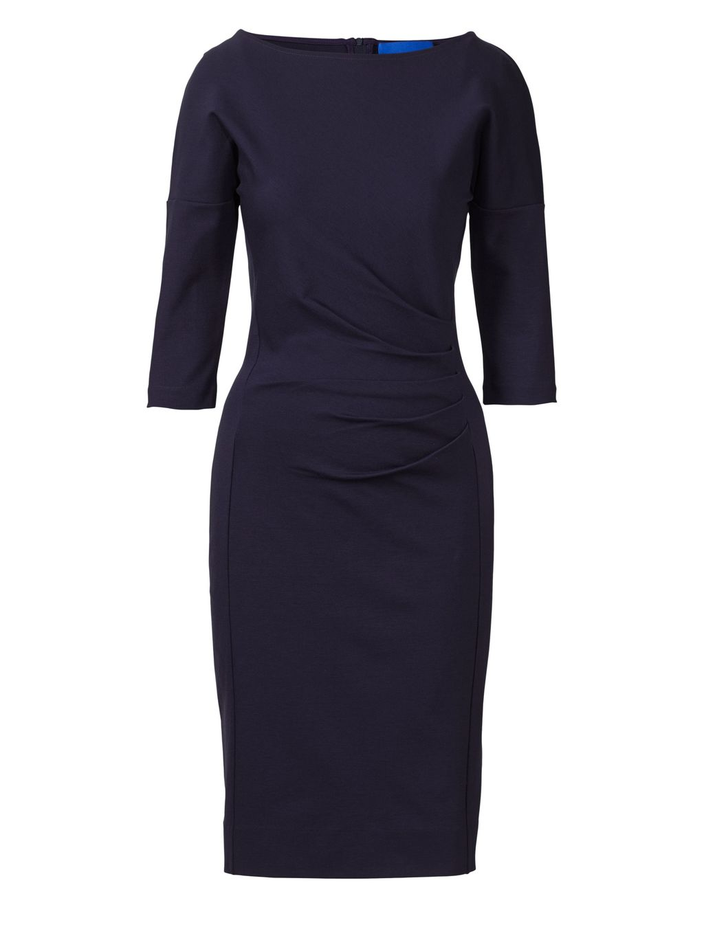 Miracle Dress, Navy - style: shift; neckline: slash/boat neckline; pattern: plain; predominant colour: navy; occasions: evening, work, creative work; length: just above the knee; fit: body skimming; fibres: viscose/rayon - stretch; sleeve length: 3/4 length; sleeve style: standard; pattern type: fabric; texture group: jersey - stretchy/drapey; season: s/s 2016; wardrobe: investment
