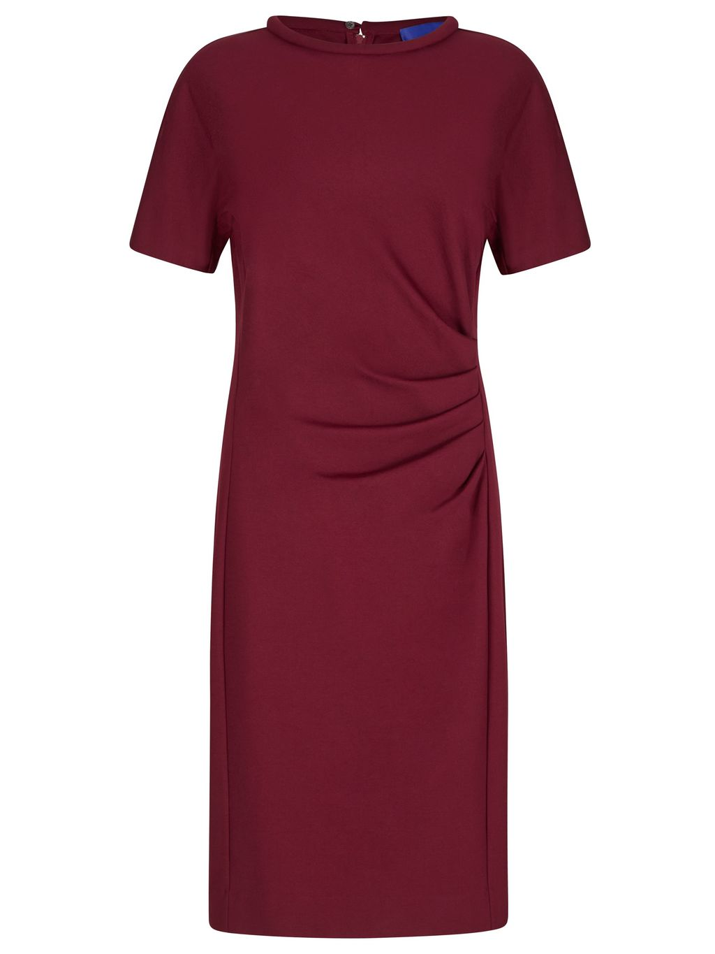 Miracle Short Sleeve Dress, Red - style: shift; pattern: plain; predominant colour: burgundy; occasions: evening, work, creative work; length: just above the knee; fit: body skimming; fibres: viscose/rayon - 100%; neckline: crew; sleeve length: 3/4 length; sleeve style: standard; pattern type: fabric; texture group: jersey - stretchy/drapey; season: s/s 2016; wardrobe: highlight
