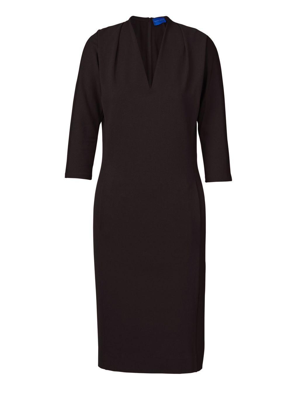 Katherine Miracle Dress, Black - style: shift; neckline: v-neck; fit: tailored/fitted; pattern: plain; predominant colour: black; occasions: evening, work, creative work; length: just above the knee; fibres: polyester/polyamide - 100%; sleeve length: 3/4 length; sleeve style: standard; texture group: crepes; pattern type: fabric; season: s/s 2016; wardrobe: investment
