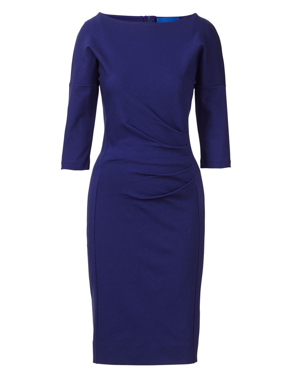 Miracle Dress, Blue - style: shift; neckline: slash/boat neckline; fit: tailored/fitted; pattern: plain; waist detail: flattering waist detail; predominant colour: royal blue; occasions: evening, work, occasion, creative work; length: just above the knee; fibres: cotton - 100%; sleeve length: 3/4 length; sleeve style: standard; texture group: cotton feel fabrics; pattern type: fabric; season: s/s 2016; wardrobe: highlight