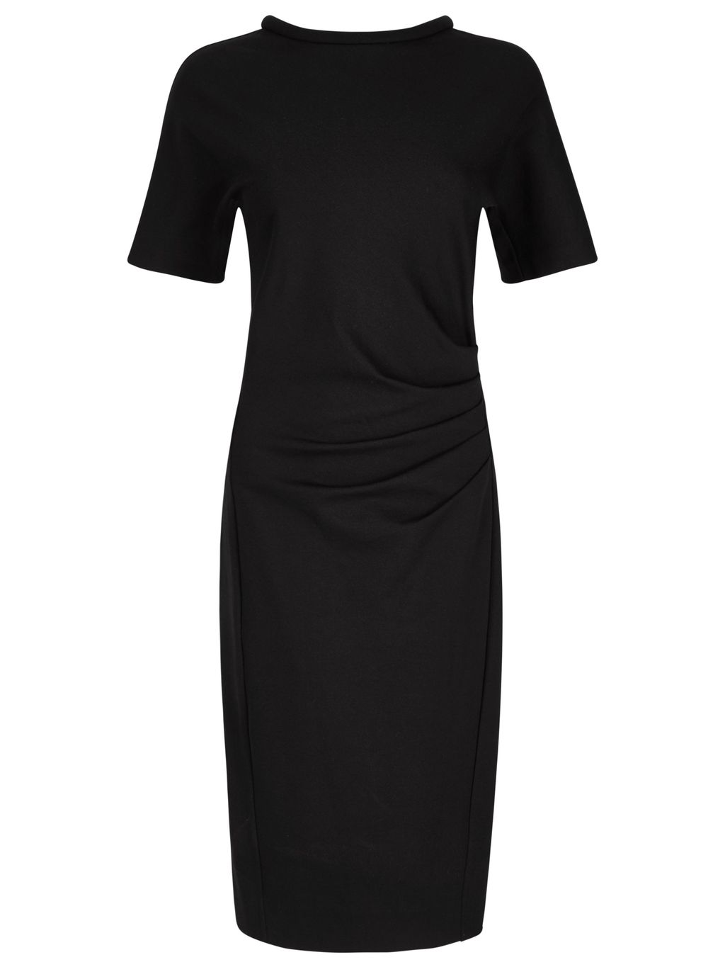 Miracle Short Sleeve Dress, Black - style: shift; fit: tailored/fitted; pattern: plain; neckline: high neck; waist detail: flattering waist detail; predominant colour: black; occasions: casual, work, occasion, creative work; length: just above the knee; fibres: polyester/polyamide - 100%; sleeve length: short sleeve; sleeve style: standard; texture group: crepes; pattern type: fabric; season: s/s 2016; wardrobe: basic