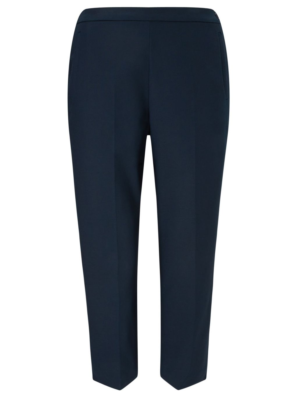 Crop Trouser, Navy - length: standard; pattern: plain; waist: mid/regular rise; predominant colour: navy; occasions: work; fibres: cotton - stretch; waist detail: feature waist detail; texture group: cotton feel fabrics; fit: slim leg; pattern type: fabric; style: standard; season: s/s 2016; wardrobe: basic