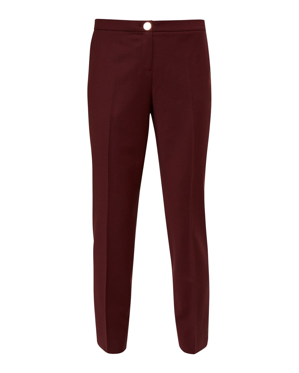 Delihat Straight Leg Trousers, Red - length: standard; pattern: plain; waist: mid/regular rise; predominant colour: burgundy; occasions: work; fibres: wool - mix; fit: straight leg; pattern type: fabric; texture group: woven light midweight; style: standard; season: s/s 2016; wardrobe: highlight