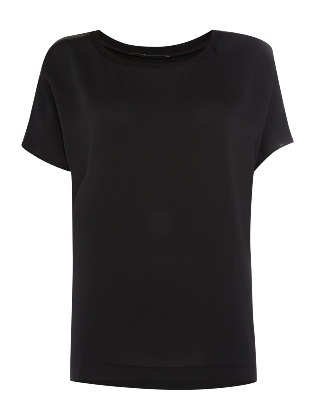 Plain Satin Blouse, Black - neckline: round neck; pattern: plain; style: t-shirt; predominant colour: black; occasions: casual, creative work; length: standard; fibres: polyester/polyamide - 100%; fit: body skimming; sleeve length: short sleeve; sleeve style: standard; pattern type: fabric; texture group: jersey - stretchy/drapey; season: s/s 2016; wardrobe: basic