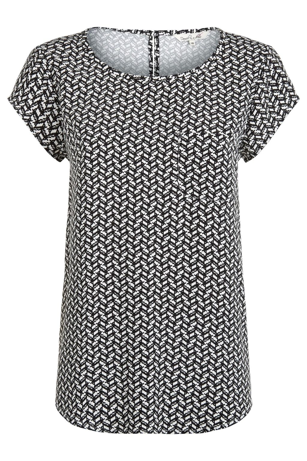 Theadora Top, Black Multi - neckline: round neck; secondary colour: light grey; predominant colour: black; occasions: casual; length: standard; style: top; fibres: viscose/rayon - 100%; fit: body skimming; sleeve length: short sleeve; sleeve style: standard; pattern type: fabric; pattern: patterned/print; texture group: other - light to midweight; multicoloured: multicoloured; season: s/s 2016; wardrobe: highlight