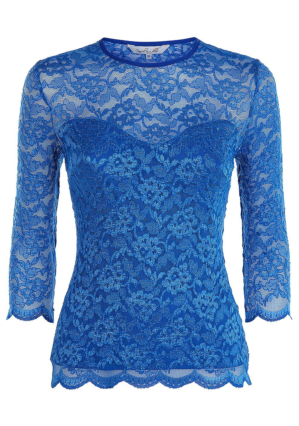 Bern Lace Top, Blue - neckline: round neck; style: t-shirt; predominant colour: diva blue; occasions: evening; length: standard; fibres: polyester/polyamide - mix; fit: body skimming; sleeve length: short sleeve; sleeve style: standard; texture group: lace; pattern type: fabric; pattern size: standard; pattern: patterned/print; embellishment: lace; season: s/s 2016; wardrobe: event