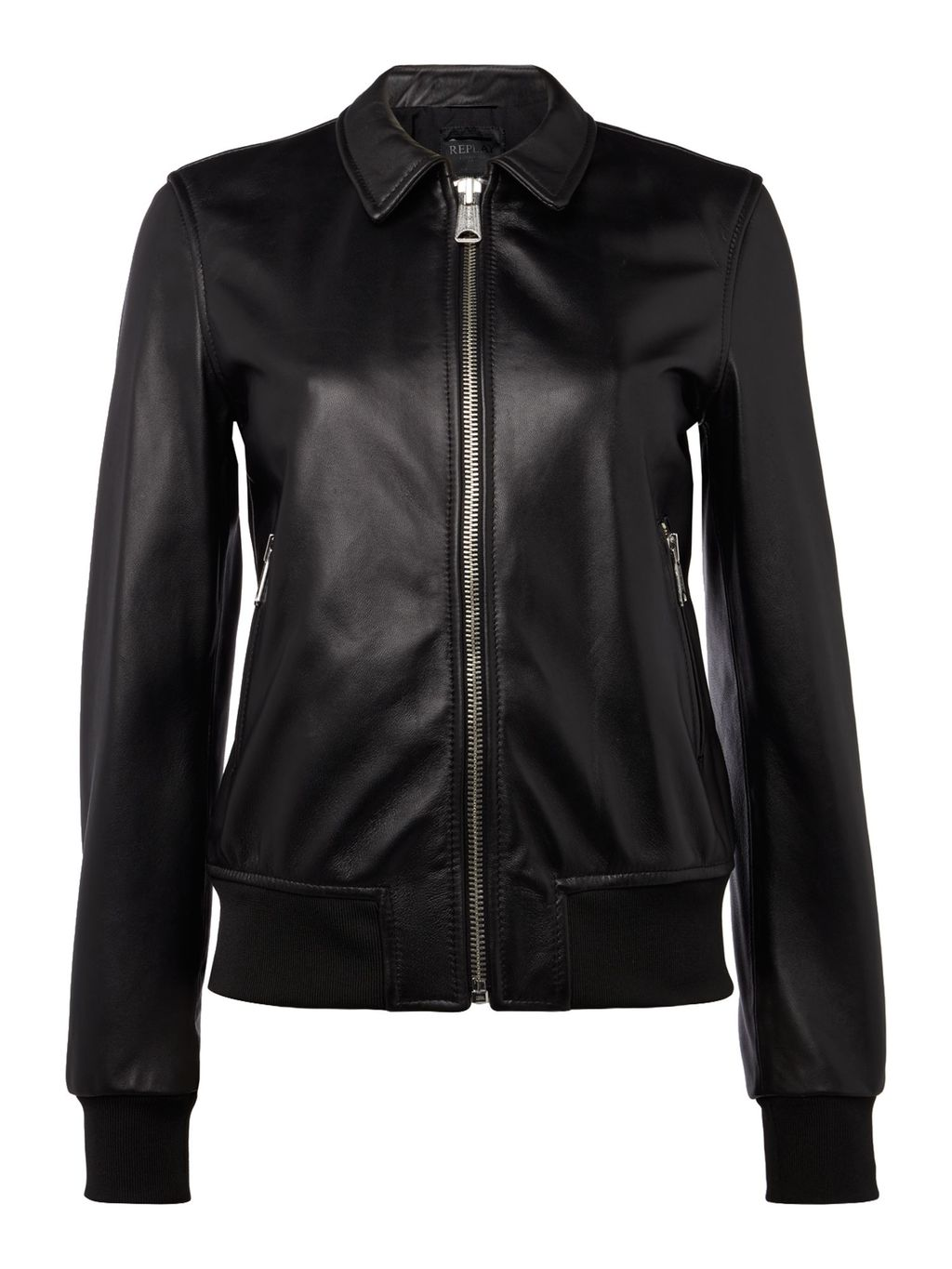 Classic Leather Jacket, Black - pattern: plain; collar: standard biker; fit: slim fit; style: bomber; predominant colour: black; occasions: casual, creative work; length: standard; fibres: leather - 100%; sleeve length: long sleeve; sleeve style: standard; texture group: leather; collar break: high/illusion of break when open; pattern type: fabric; season: s/s 2016; wardrobe: basic