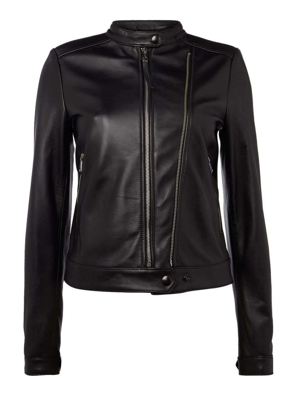 Calfskin Biker Jacket, Black - pattern: plain; style: biker; collar: standard biker; fit: slim fit; predominant colour: black; occasions: casual, creative work; length: standard; fibres: leather - 100%; sleeve length: long sleeve; sleeve style: standard; texture group: leather; collar break: high/illusion of break when open; pattern type: fabric; season: s/s 2016; wardrobe: basic