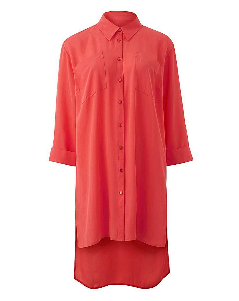 Pink Longline Blouse - neckline: shirt collar/peter pan/zip with opening; pattern: plain; style: blouse; predominant colour: coral; occasions: casual; fibres: polyester/polyamide - 100%; fit: loose; length: mid thigh; sleeve length: 3/4 length; sleeve style: standard; pattern type: fabric; texture group: other - light to midweight; season: s/s 2016; wardrobe: highlight