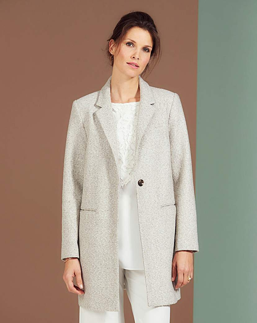 Lightweight Textured Coat - pattern: plain; style: single breasted; collar: standard lapel/rever collar; length: mid thigh; predominant colour: light grey; occasions: work, creative work; fit: tailored/fitted; fibres: polyester/polyamide - 100%; sleeve length: long sleeve; sleeve style: standard; collar break: medium; pattern type: fabric; texture group: woven light midweight; season: s/s 2016; wardrobe: investment