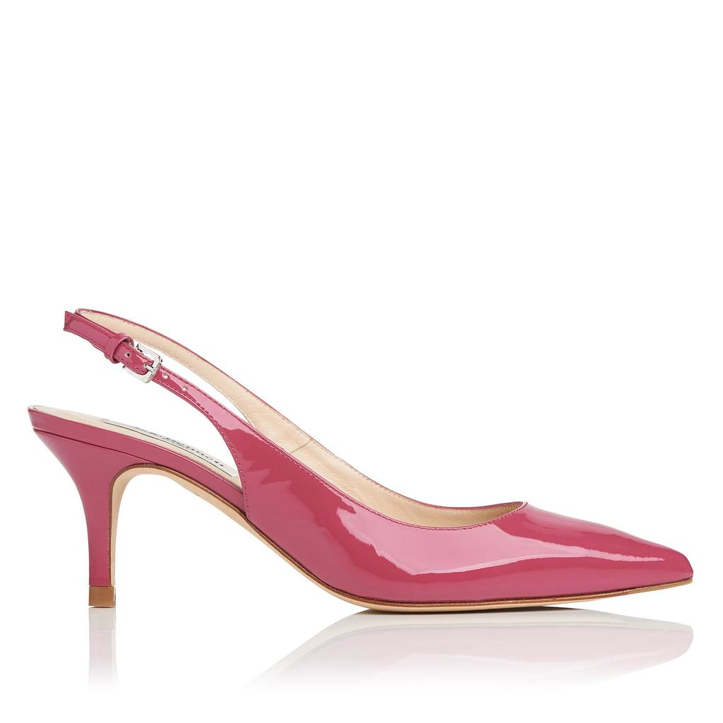 Florita Rosehip Patent Courts - predominant colour: hot pink; occasions: evening; material: leather; heel height: high; heel: stiletto; toe: pointed toe; style: slingbacks; finish: patent; pattern: plain; season: s/s 2016; wardrobe: event