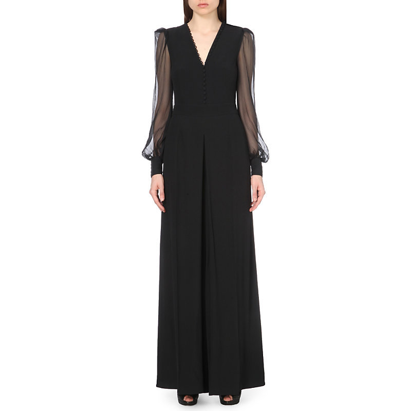 Shea Semi Sheer Crepe Jumpsuit, Women's, Black - length: standard; neckline: v-neck; pattern: plain; predominant colour: black; occasions: evening; fit: body skimming; sleeve length: long sleeve; sleeve style: standard; texture group: crepes; style: jumpsuit; pattern type: fabric; fibres: viscose/rayon - mix; shoulder detail: sheer at shoulder; season: s/s 2016; wardrobe: event