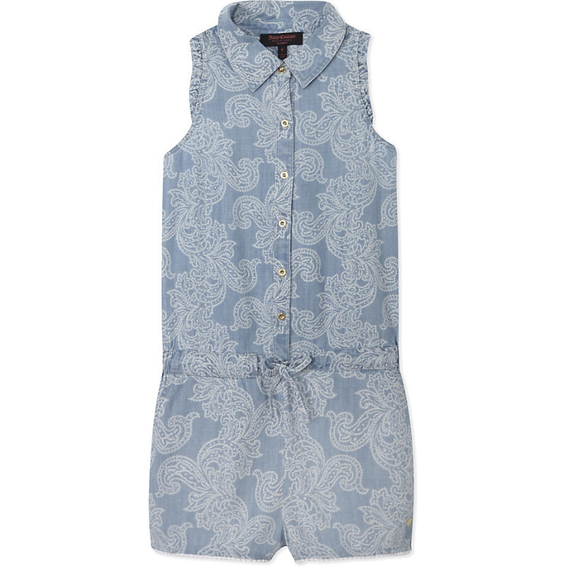 Ipanema Paisley Chambray Playsuit 4 14 Years, Girl's, Size: 8 Years, Fountain Blue Diamond - neckline: shirt collar/peter pan/zip with opening; fit: fitted at waist; sleeve style: sleeveless; length: short shorts; predominant colour: pale blue; occasions: casual; fibres: viscose/rayon - 100%; sleeve length: sleeveless; style: playsuit; pattern type: fabric; pattern: patterned/print; texture group: other - light to midweight; season: s/s 2016; wardrobe: highlight