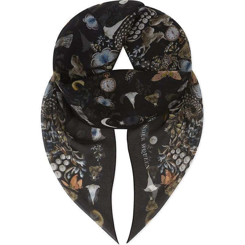 Obsession Chiffon Silk Scarf, Women's, Black Multi - predominant colour: black; occasions: casual; type of pattern: heavy; style: square; size: standard; material: silk; pattern: patterned/print; multicoloured: multicoloured; season: s/s 2016; wardrobe: highlight