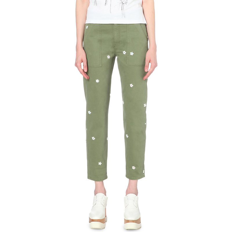 Floral Tapered High Rise Jeans, Women's, Green - length: standard; waist: high rise; pocket detail: traditional 5 pocket; style: tapered; predominant colour: khaki; occasions: casual; fibres: cotton - stretch; texture group: denim; pattern type: fabric; pattern: florals; pattern size: light/subtle (bottom); season: s/s 2016; wardrobe: highlight