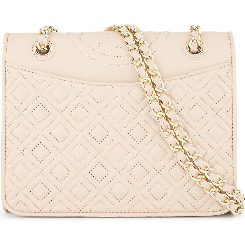 Fleming Medium Leather Shoulder Bag, Women's, Pale Apricot - predominant colour: nude; secondary colour: gold; occasions: casual, creative work; type of pattern: standard; style: shoulder; length: across body/long; size: standard; material: leather; pattern: plain; finish: plain; embellishment: chain/metal; season: s/s 2016