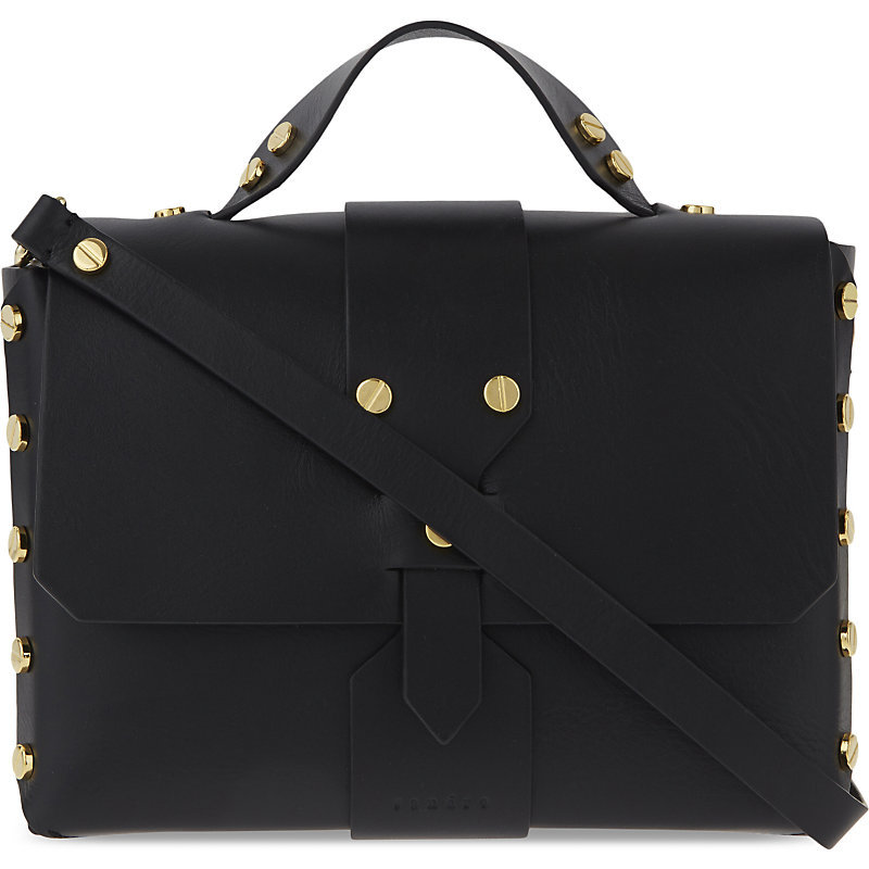 Abby Leather Satchel, Women's, Black - secondary colour: gold; predominant colour: black; occasions: casual, creative work; type of pattern: standard; style: shoulder; length: across body/long; size: standard; material: leather; pattern: plain; finish: plain; season: s/s 2016; wardrobe: investment