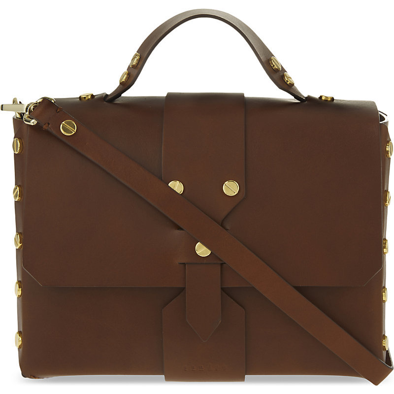 Abby Leather Satchel, Women's, Brown - predominant colour: chocolate brown; occasions: casual, work, creative work; type of pattern: standard; style: satchel; length: handle; size: oversized; material: leather; pattern: plain; finish: plain; season: s/s 2016; wardrobe: basic
