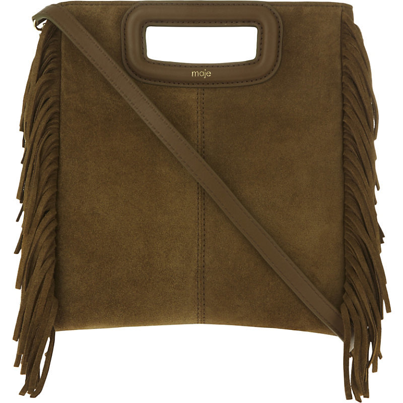 The M Suede Cross Body Bag, Women's, Size: Medium, Camel - predominant colour: chocolate brown; occasions: casual, creative work; type of pattern: standard; style: messenger; length: across body/long; size: standard; material: suede; embellishment: fringing; pattern: plain; finish: plain; season: s/s 2016; wardrobe: highlight