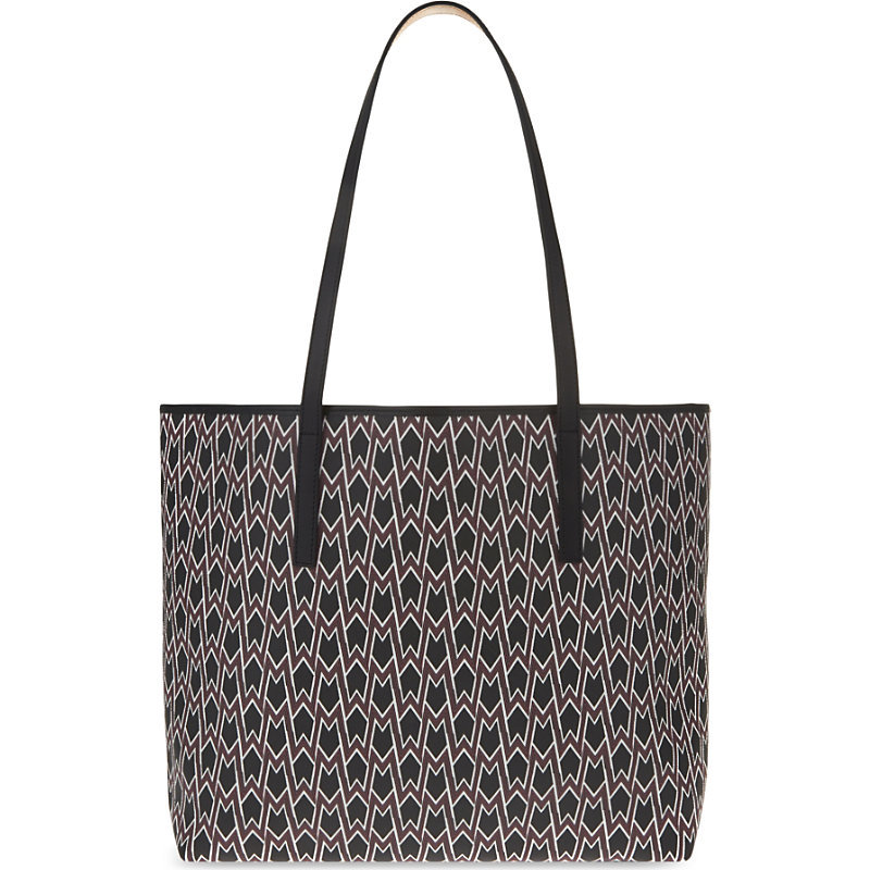 Seller Printed Tote, Women's, Red - predominant colour: true red; occasions: casual, creative work; type of pattern: heavy; style: tote; length: across body/long; size: standard; material: leather; finish: plain; pattern: patterned/print; season: s/s 2016; wardrobe: highlight
